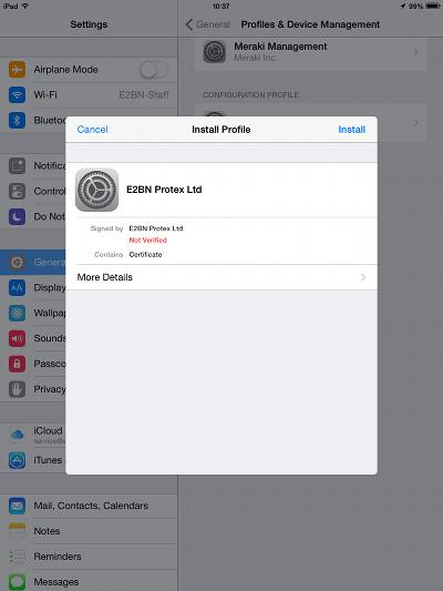 iOS cert install